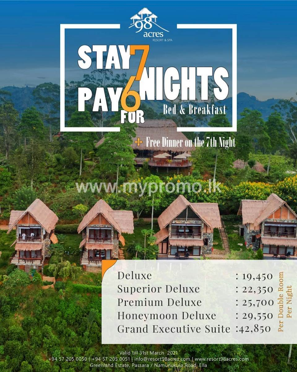 Stay 7 nights for the price of 6, plus get dinner for free on the 7th night at 98 Acres Resort and Spa