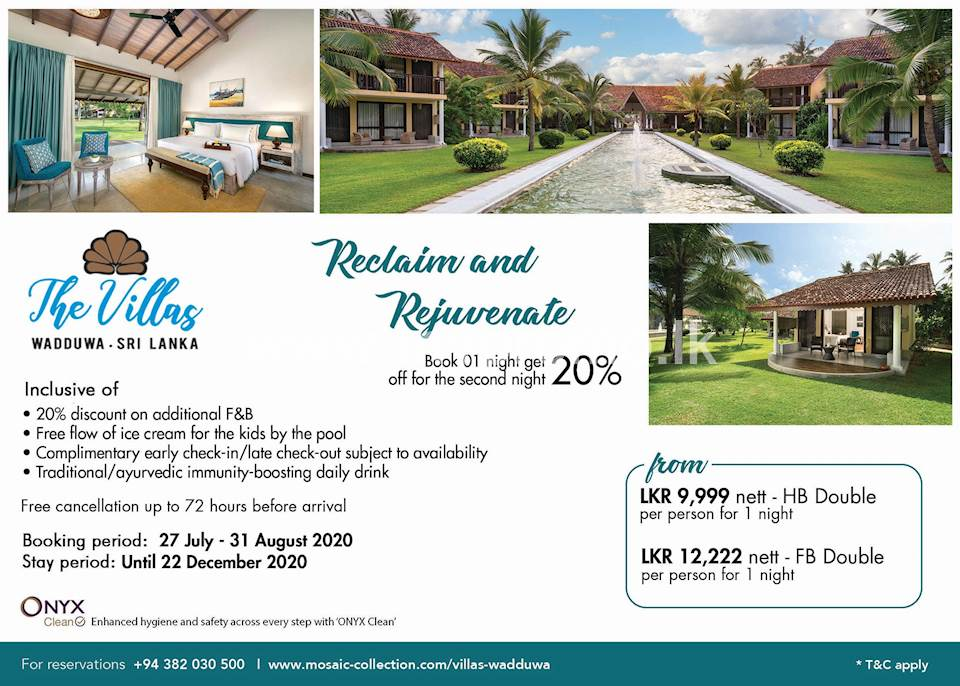 Book 1 night and get 20% off for the second night at The Villas Wadduwa, Sri Lanka