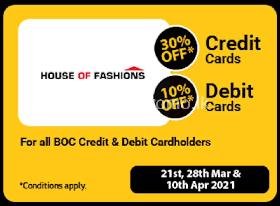 Get up to 30% Off for BOC Credit and Debit Cards at House of Fashion
