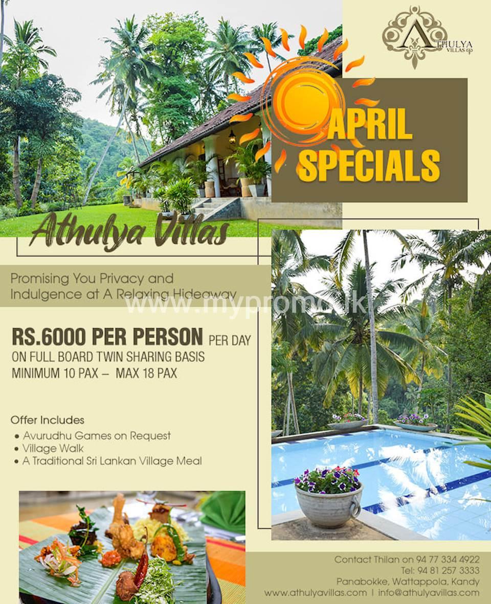 April Specials at Athulya Villas