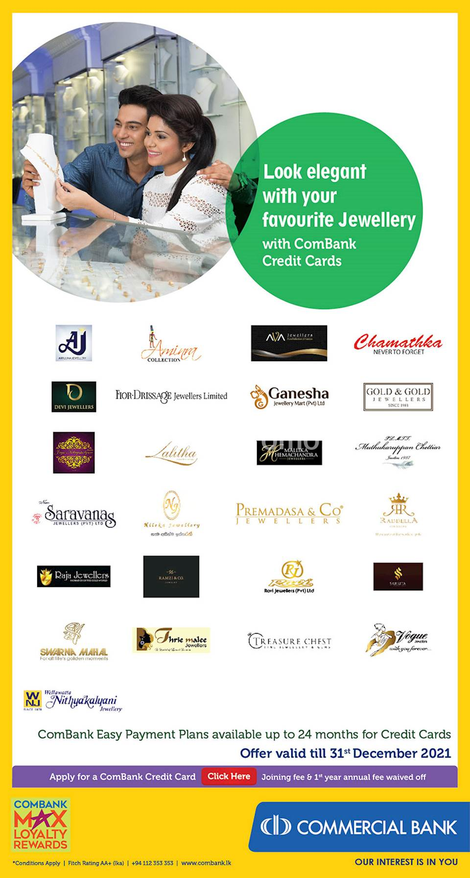 Look elegant with your favourite Jewellery with ComBank Credit Cards