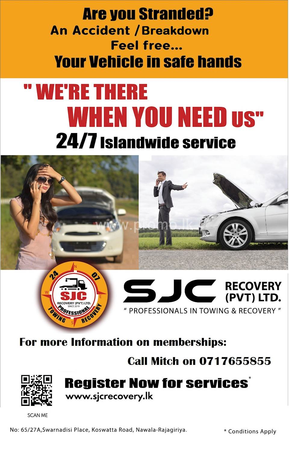 Vehicle Recovery & Towing Service from SJC Recovery (Pvt) Ltd