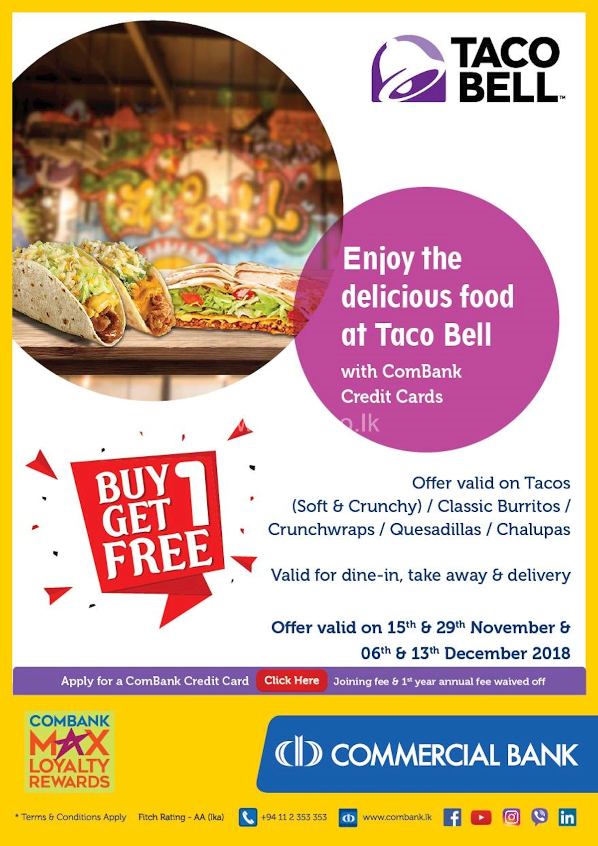 Enjoy the delicious food at Taco Bell with Combank Credit Cards