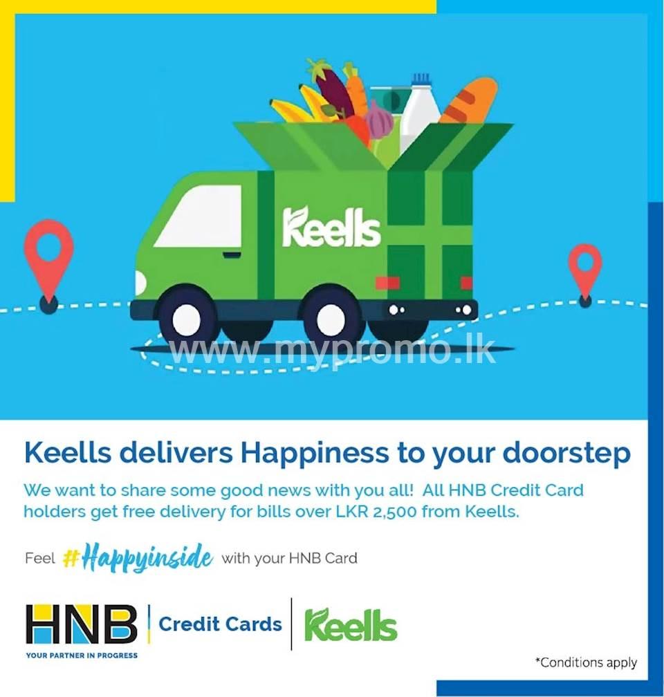 All HNB Credit Cardholders get free delivery for bills over LKR 2500 ordered via www.keellssuper.com or Keells Mobile App
