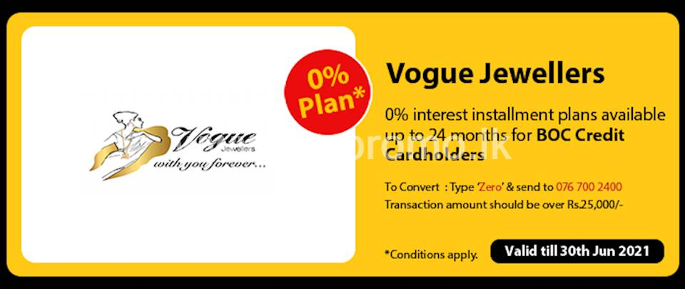 Get 0% interest Installment Plans available up to 24 months for BOC Credit Cards at Vogue Jewellers