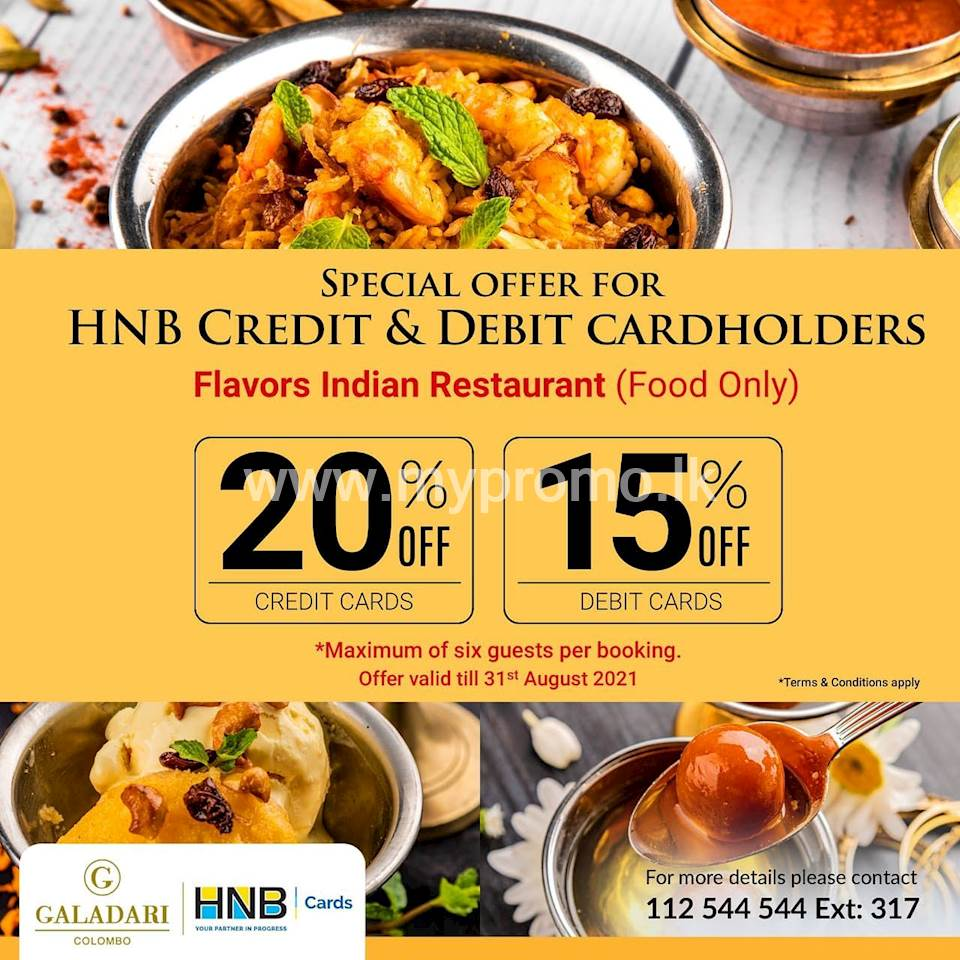 Special Offer for HNB Credit and Debit Card Holders at Galadari Hotel