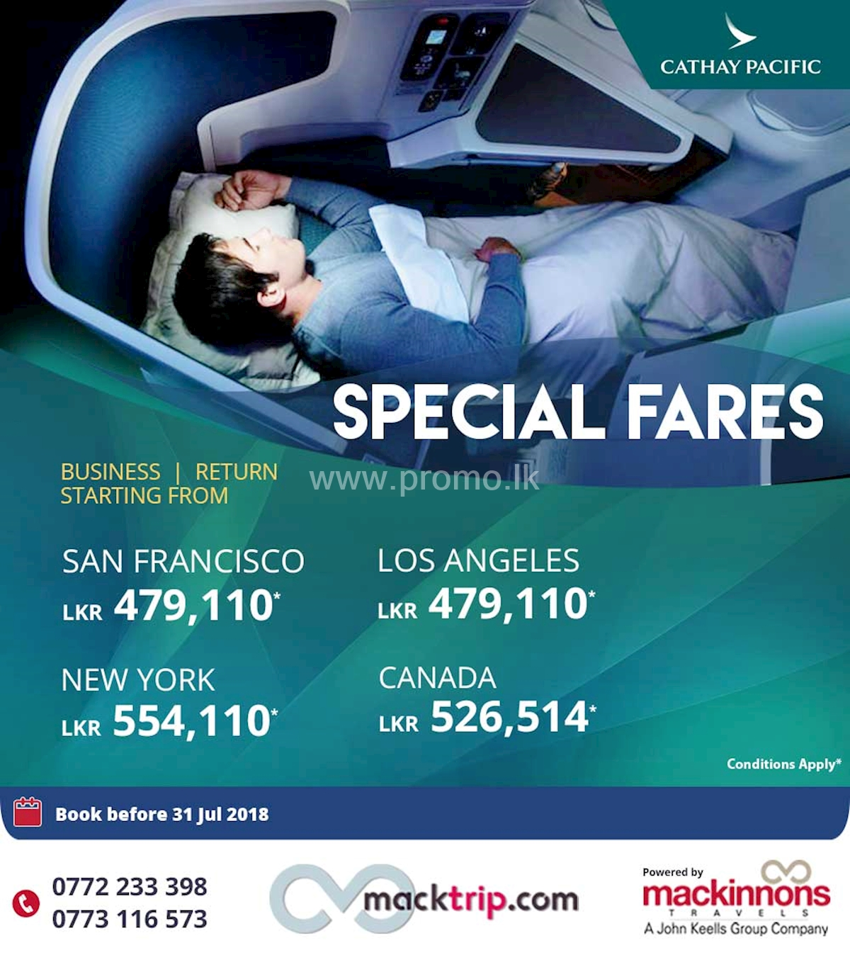 Special Fares on Cathay Pacific from Mackinnons Travel