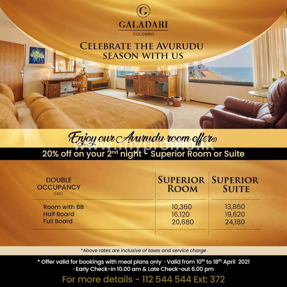Celebrate the Aurudu Season for 20% off on your second night- Superior room or suite at Galadari Hotel