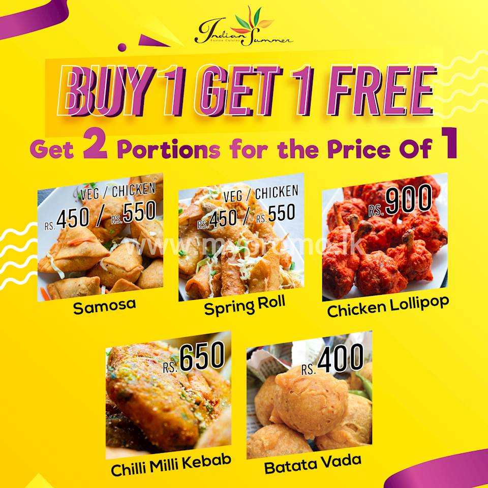 Buy One Get One FREE offer on selected items at Indian Summer LK