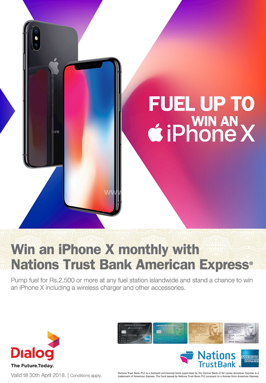 Win an iPhone X monthly with Nations Trust Bank American Express