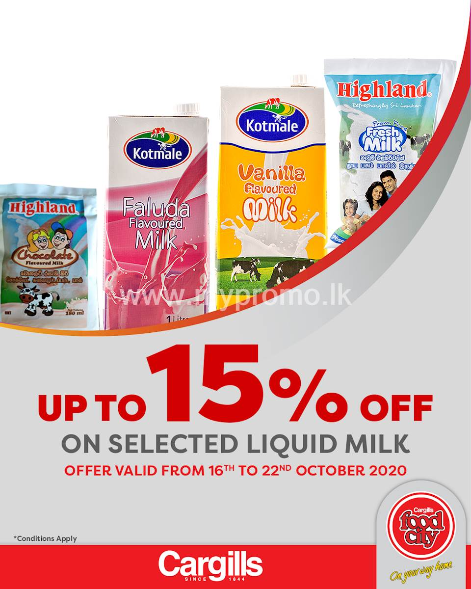 Get Up to 15% off on Selected Liquid Milk at Cargills FoodCity!