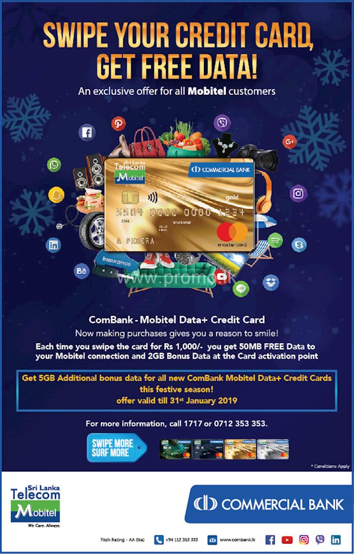 Get 5GB additional bonus data for all new ComBank Mobitel Data+ Credit Cards this festive season.