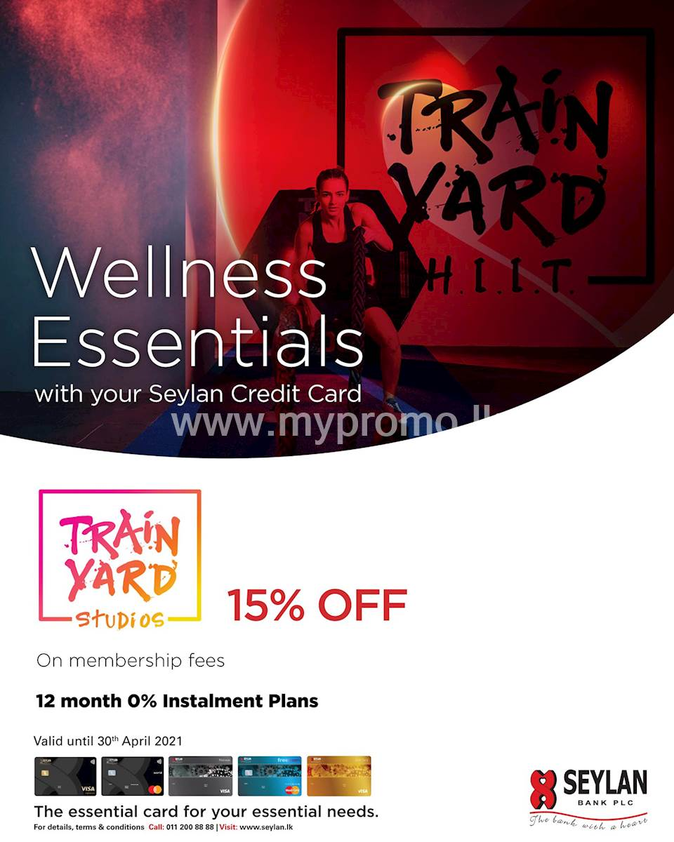 Enjoy exclusive discounts of up to 15% off on membership fees at Train Yard with your Seylan Credit Card