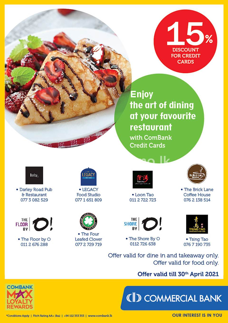 Enjoy the art of dining at your favourite restaurant with ComBank Credit Cards