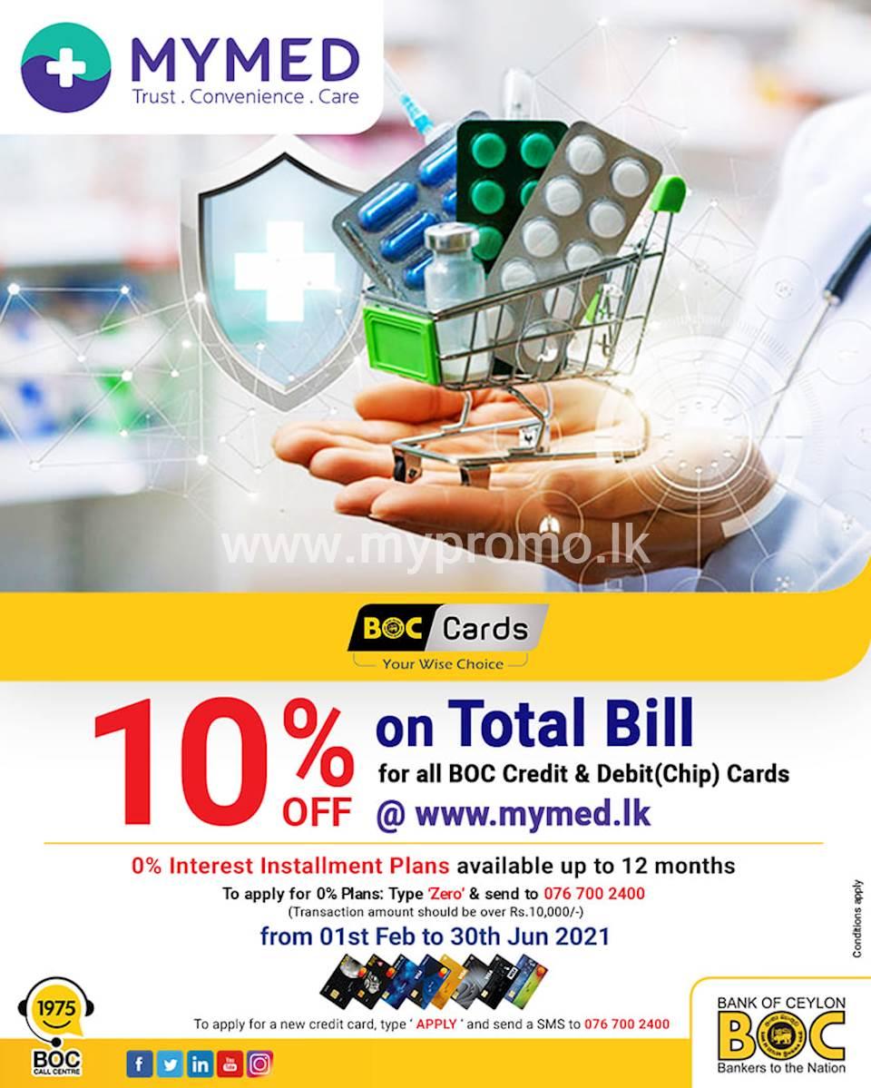 10% OFF on Total Bill at mymed.lk for BOC Credit & Debit(Chip) Cards