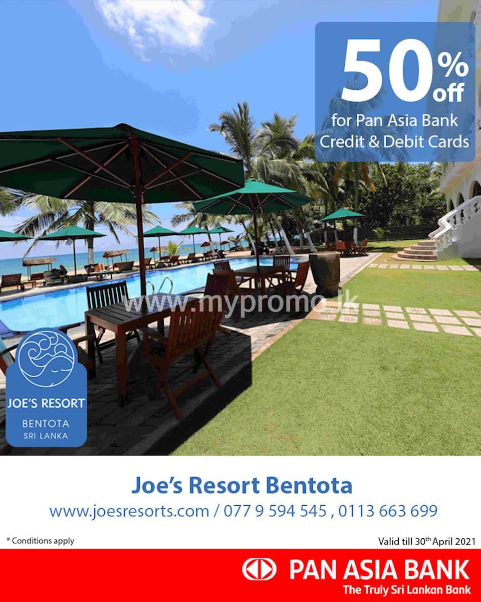 50% off at Joe's Resort Bentota for Pan Asia Bank Credit and Debit Cards