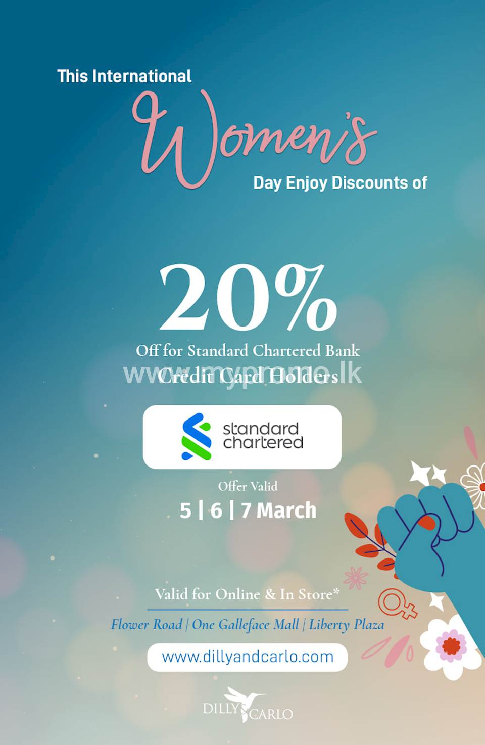 Get 20% on your total bill for Standard Chartered Credit Card Holders at Dilly & Carlo