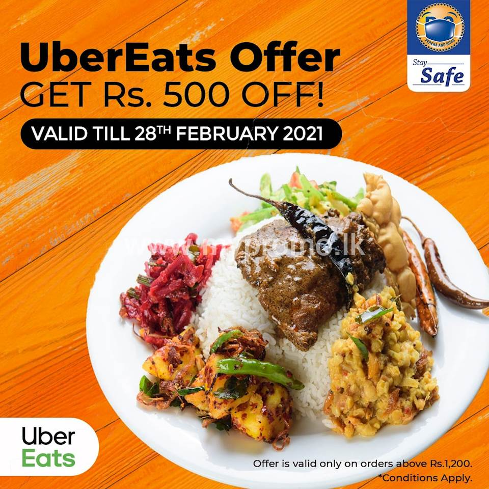 Get Rs. 500 OFF your total bill when you spend Rs. 1200 or more on UberEats from Perera and Sons
