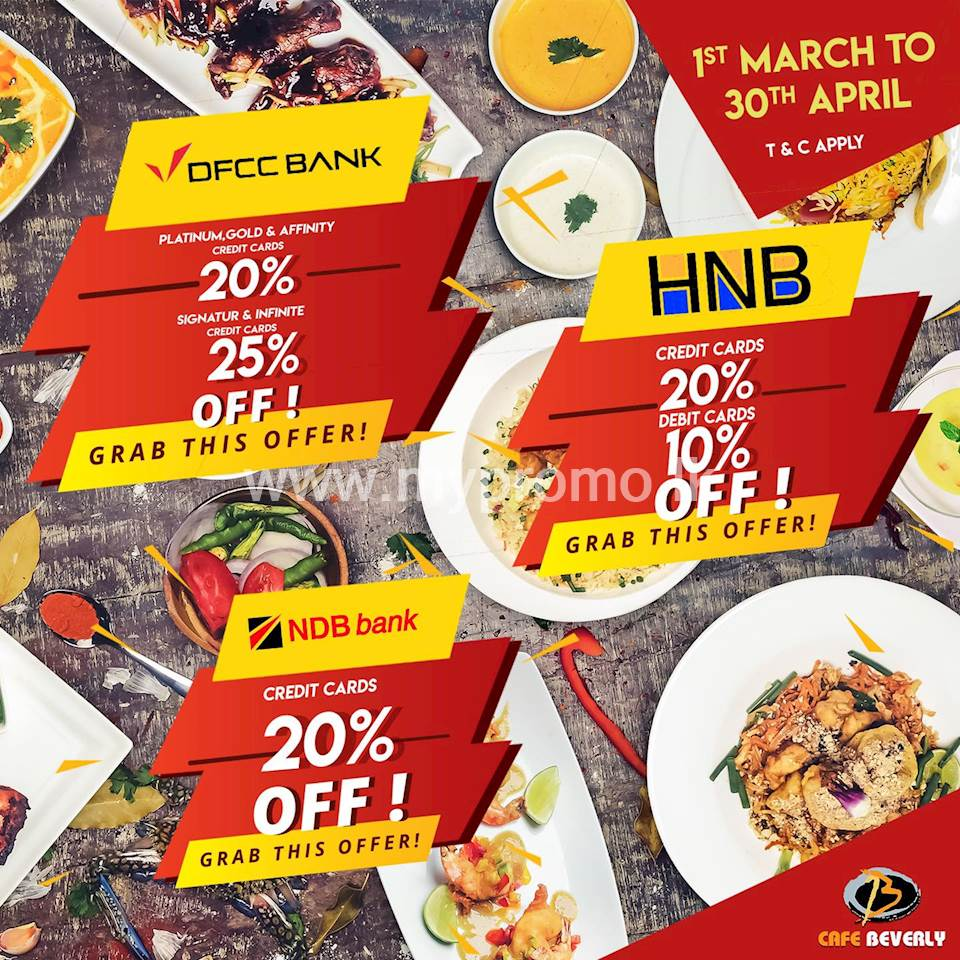 Get up to 25% Off on Selected Credit and Debit cards at Cafe Beverely