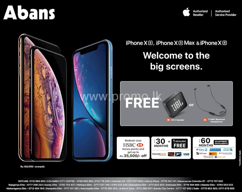 Upto 60 Months Installment Plans on iPhone Xs, Xs Max & XR