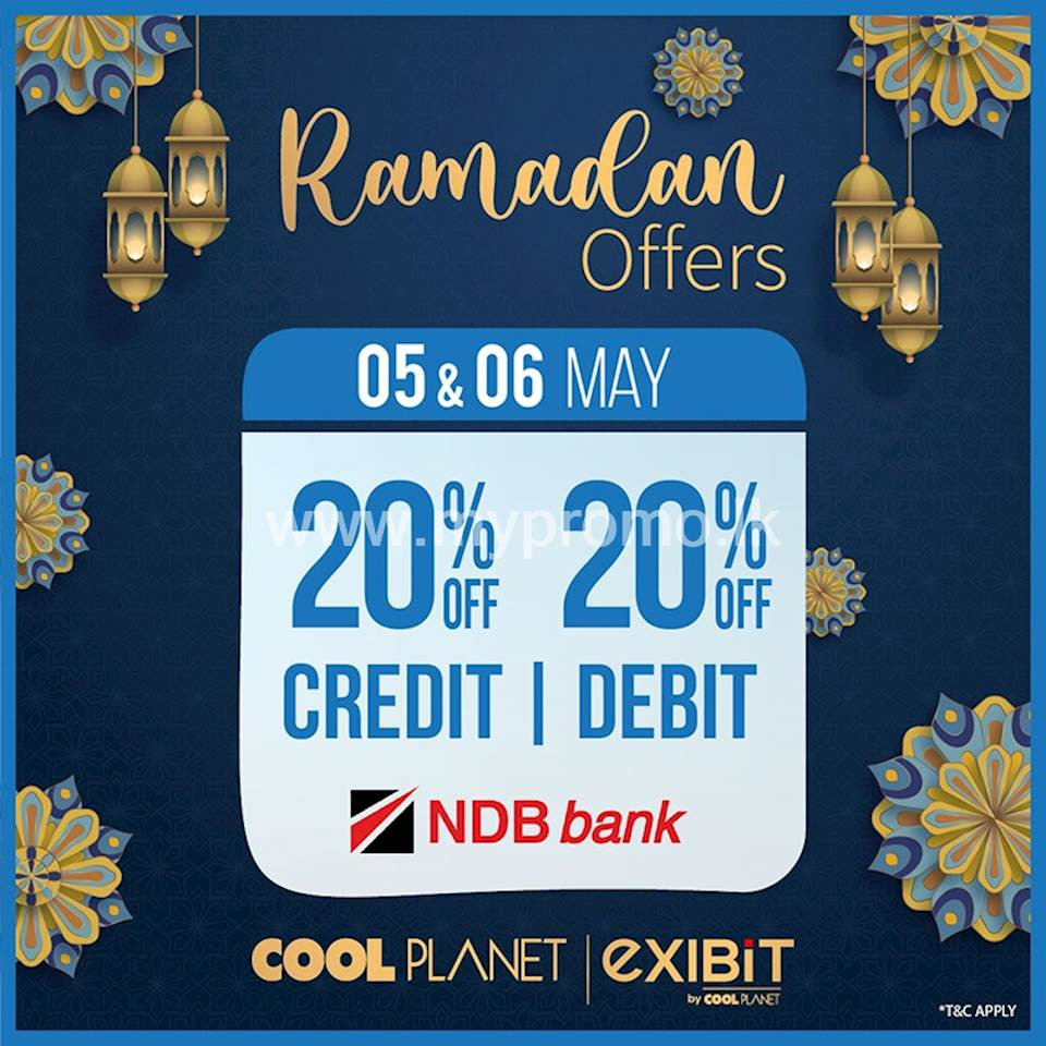 Enjoy 20% off on NDB bank credit an debit cards at Cool planet