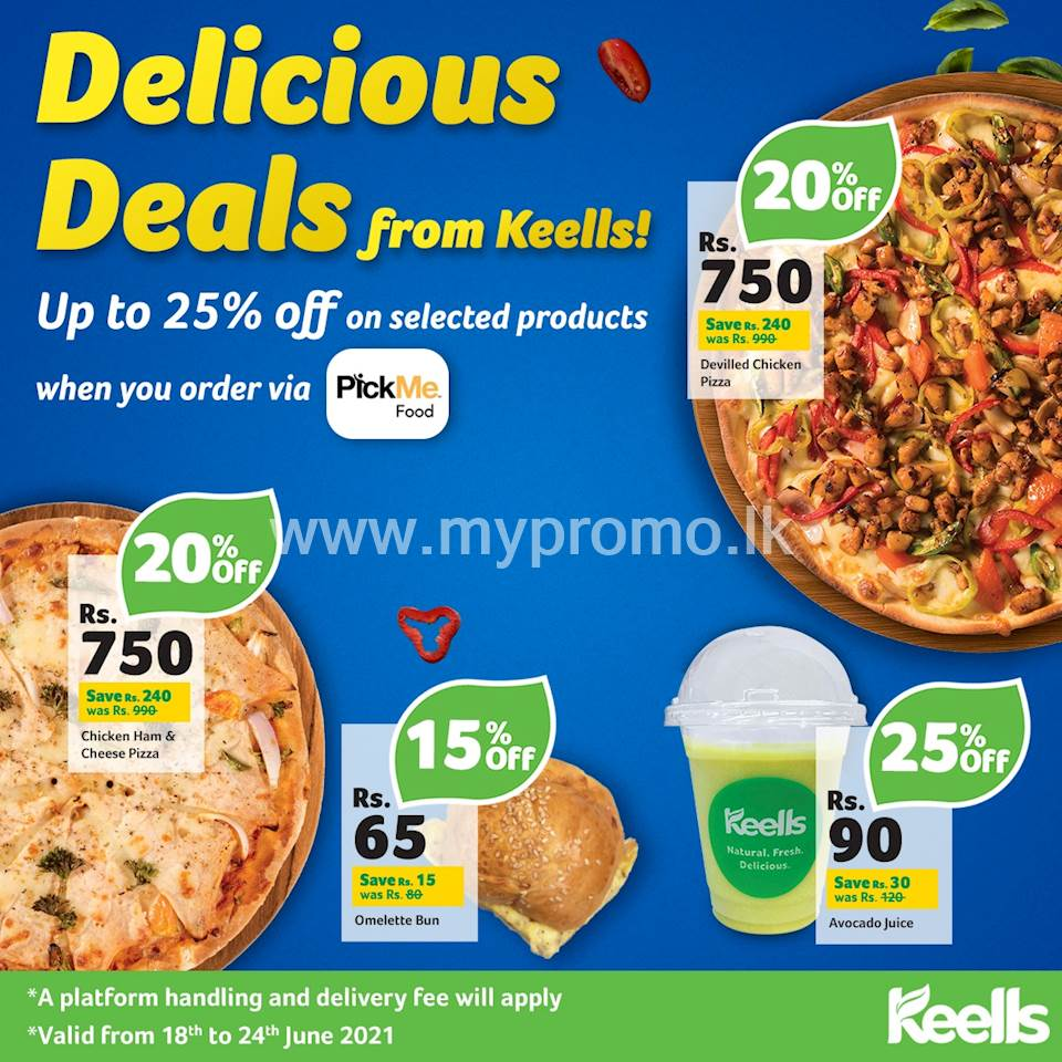 Enjoy up to 25% off when you order a range of selected food from Keells via PickMe Food
