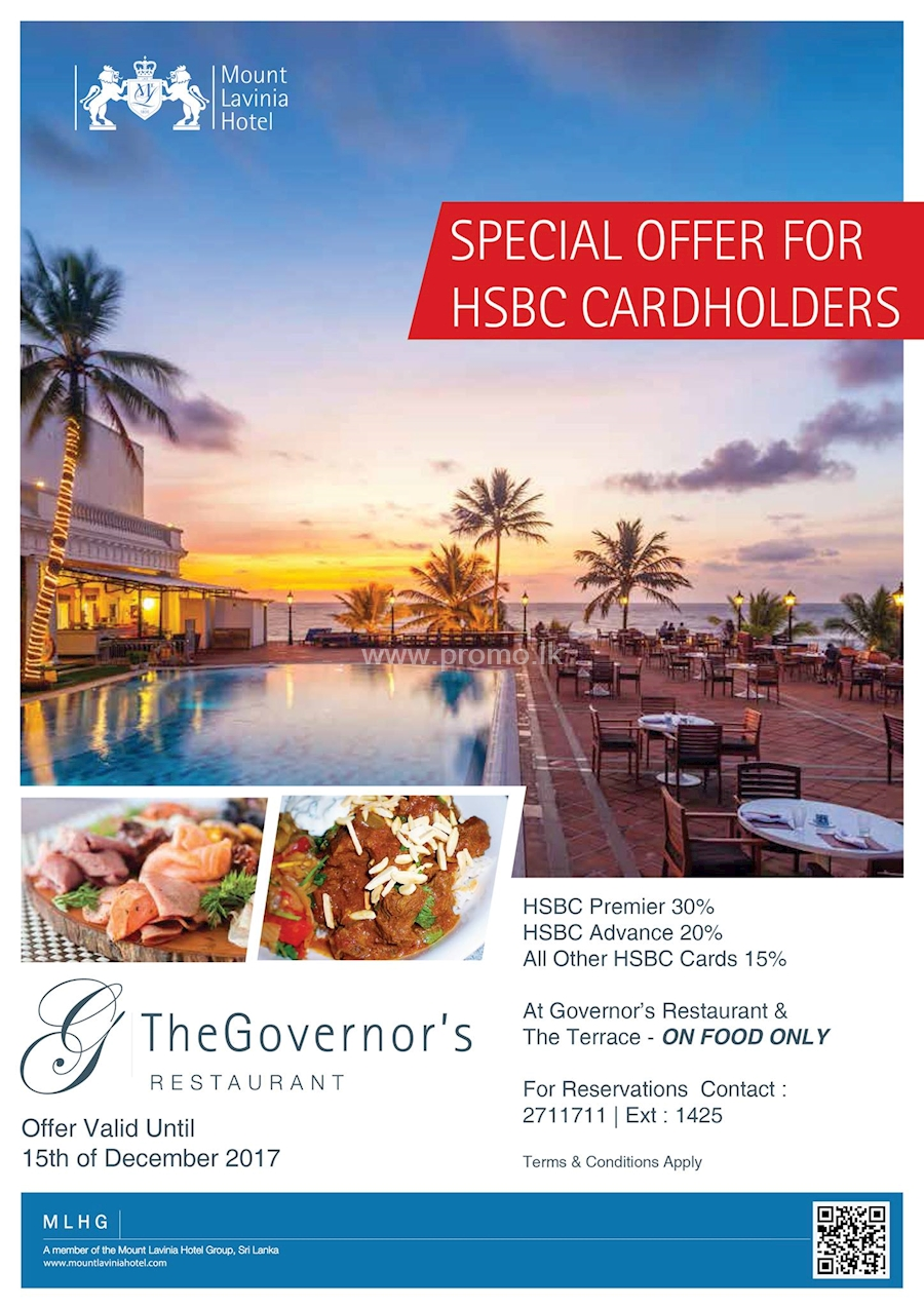 Special Offers for HSBC Cardholders at The Governor's Restaurant