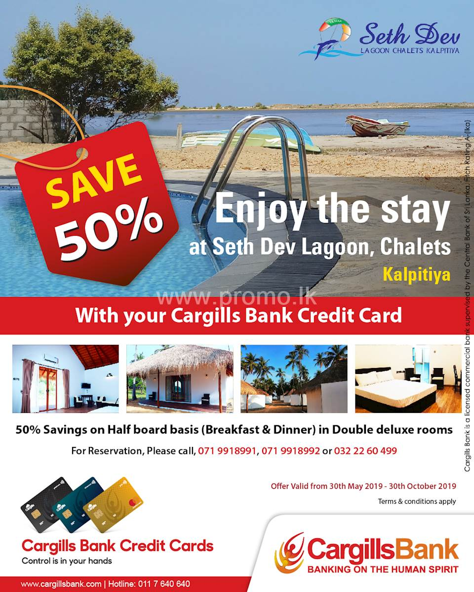 Save 50% Off at Seth Dav lagoon, Chalets Kalpitiya with Cargills Bank Credit Cards
