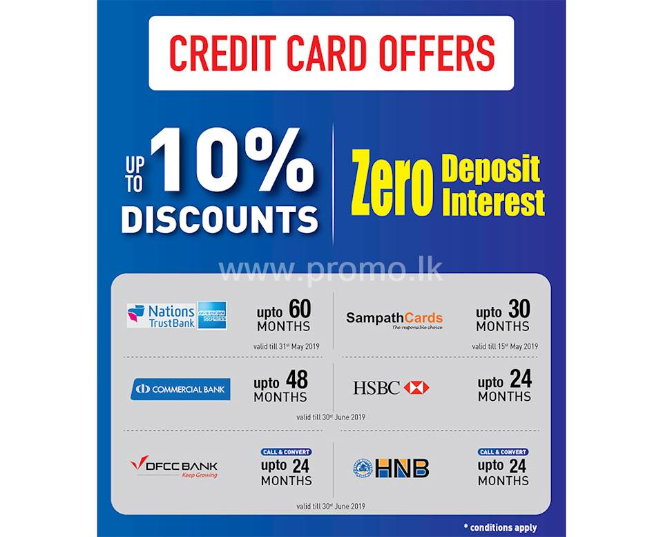 Upto 10% Discount on Credit Cards and Zero Interest at Damro