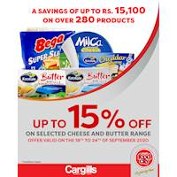 Get up to 15% off on selected Cheese & Butter products at Cargills FoodCity!