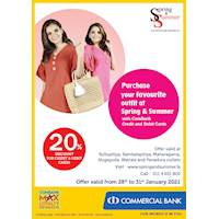 Enjoy 20% Discount at Spring & Summer with ComBank Credit and Debit cards