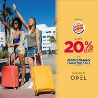 Dine for Rs. 1,000 or more at BURGER KING and Get 20% OFF on American Tourister.