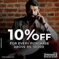 Purchase above Rs. 10,000 and get 10% off at Hameedia