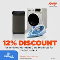 Enjoy a 12% discount for selected garment care products via FriMi for online orders at https://dinapalagroup.lk