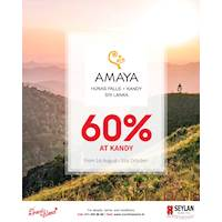 Savings up to 60% at Amaya Hunas Falls until the 31st of October 2019 with Seylan Cards