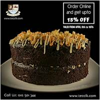 Order Online and get up to 15% off on our selection of cakes on www.tecclk.com