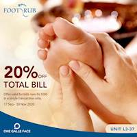 20%off on Total Bill at Foot Rub One Gall Face