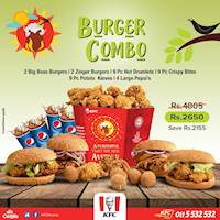 Order the Burger Combo and get 2 Big Boss Burgers, 2 Zinger Burgers, 9PC Hot Drumlets, 9PC Crispy Bites, 9PC Potato Kieves and 4 Large Pepsi's for only Rs. 2,650