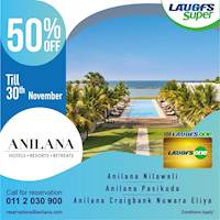50% off on LAUGFS One Card atAnilana Hotel Nilaveli, Anilana Pasikuda, Anilana Craigbank