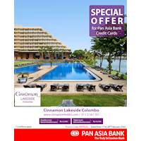 Special offer at Cinnamon Lakeside Colombo for Pan Asia Bank Credit Cards
