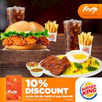 Enjoy a 10% discount on the first Rs. 5,000 of your total bill at Burger King for your FriMi Debit Card