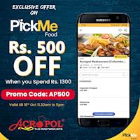 Rs. 500 off When you Spend Rs. 1300 on PickMe Food from Acropol Restaurant