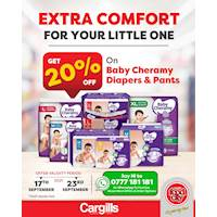 Get 20% OFF on Baby Cheramy Diapers and Pants at all Cargills FoodCity!