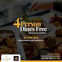 4th person dines free during lunch and dinner on weekends at Galadari Hotel