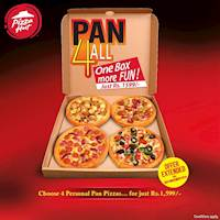 Get any 4 personal pan pizzas from Classic or Signature ranges for just Rs. 1599 till the 20th of November!