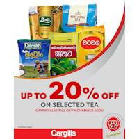 Get up to 20% off on selected Tea at Cargills FoodCity!