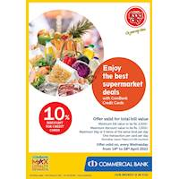 Enjoy 10% Discount for total bill on ComBank Credit Cards at Cargills Food City