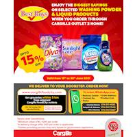 Enjoy the BIGGEST SAVINGS on Selected Washing Powder & Liquid Products When You Order Through Cargills Outlet 2 Home!