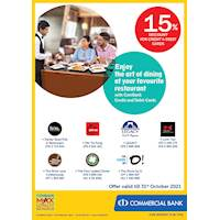 Enjoy 15% off at your favourite restaurant with ComBank Credit and Debit Cards (October Promo)