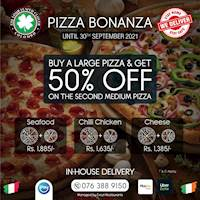 Buy a large pizza and save 50% when you order a medium pizza of the same range at The Four Leafed Clover